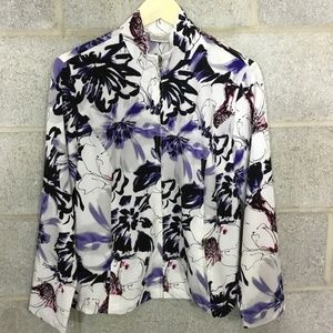 Zenergy by Chicos Floral Jacket Size 1 Full Zip
